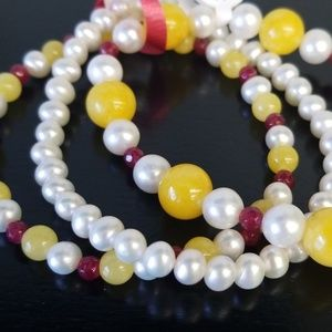 Jewelry - Stretch bracelets 3pc Jade and White Pearls